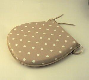 Light Cream/ Beige Polka Dot/Spot Chair Kitchen/Dining Room Seat Pad Cushions
