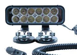 LED Emitter Light - Magnetic Mount - 12 LEDs - 36 Watts - 9-42 VDC - 550'L X 70'W Beam (-Black-Spot 9 aluminum alloy extendable bipod w mount for ak m40 guns more black