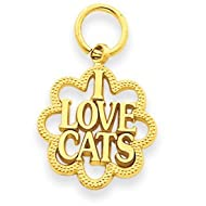 14k Yellow Gold I Love Cats Charm Gold