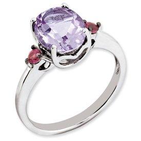 Genuine IceCarats Designer Jewelry Gift Sterling Silver Pink Amethyst & Rhodolite Garnet Ring Size 7.00