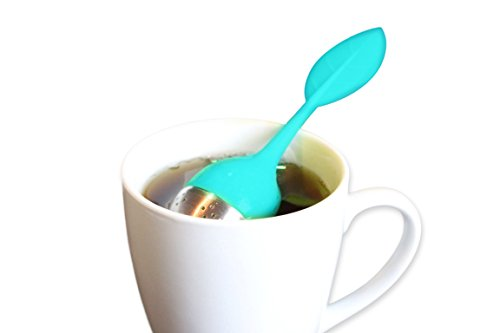 Great Deal! - New Colors - (Turquoise) FUGAMI Silicone Loose Leaf Tea Infuser Strainer with Resting ...