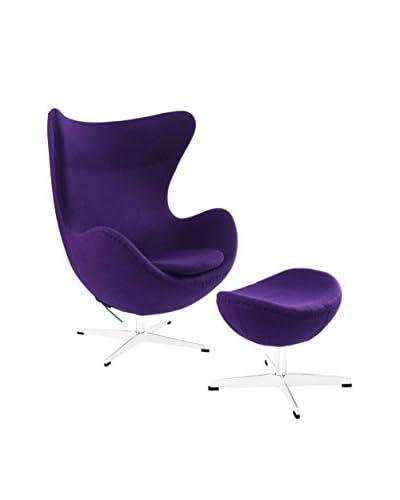 Modway Glove Wool Lounge Chair & Ottoman Set, Purple