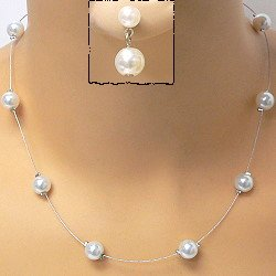 White Pearl on Silver Wired Necklace Set
