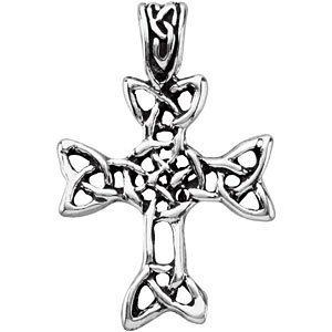 Genuine Sterling Silver Antique Finish Celtic Cross Pendant