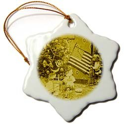 Girl and American Flag Vintage Christmas Antiqued tone - 3 Inch Snowflake Porcelain Ornament