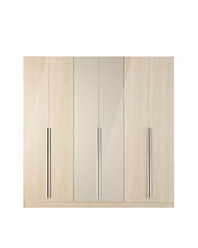 Manhattan Comfort Eldridge 4-Drawer/6-Door Wardrobe, Oak Vanilla/Nude