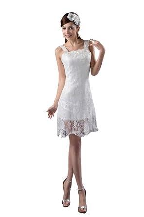 herafa p32587-2 Robes De Bal Style Romantique Strap Sans manche Applique Au genou Gaine Blanc