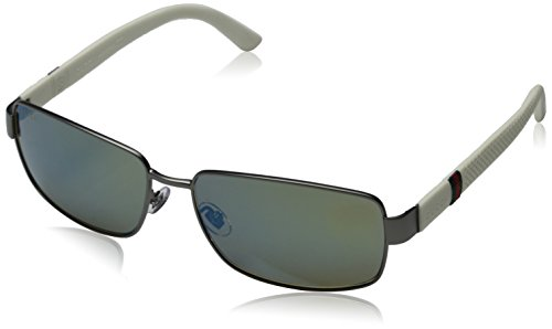 Gucci 2249/F/S Sunglasses Semi Matte Dark Ruthenium / Khaki Mirror Blue