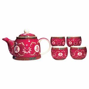 Tea Set - Fuchsia - 4 Cups