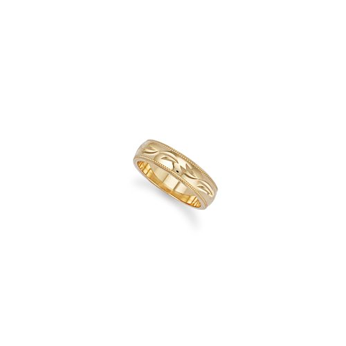 6mm - 9ct Yellow Gold Diamond Cut Wedding Band Ring