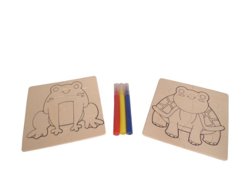 WeGlow International Frog and Turtle Mix and Match Wood Puzzle Kit, Makes 2 (Set of 3)