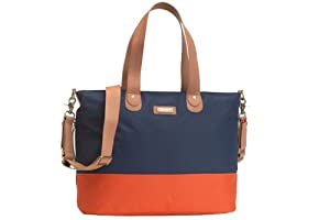 Storksak Color Block Tote Diaper Bag - Navy/Orange from Storksak