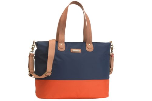 Storksak Color Block Tote Diaper Bag - Navy/Orange - 1