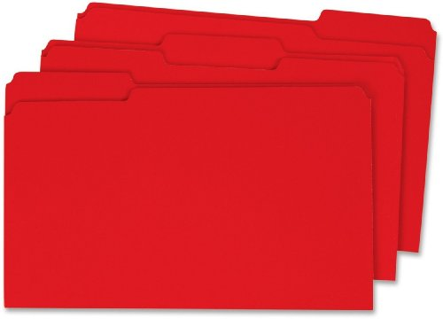Globe-Weis Colored File Folders, 1/3 Cut, Single-Ply Tab, Legal Size, Red, 100-Count (27743)