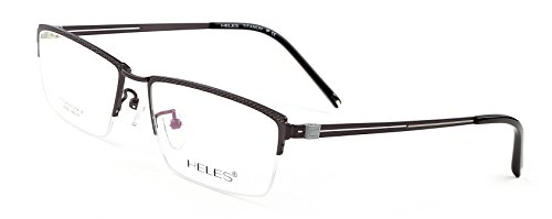 Heles Unisex Fashionable 100% Pure Tianium Half Rim Optical Frame Eyeglasses, Grey 55/17/145 (Spectacle Frame compare prices)