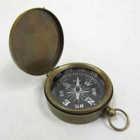 Brass Pocket Compass with Lid and Antique Finish, Fleur-de-lis on Dial - 1 3/4