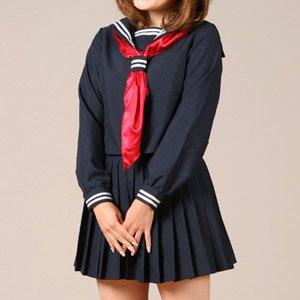 紺地長袖セーラー costume217 コスプレ コスチューム衣装 メイド AKBアキバ 女子高生 セーラー服 4l