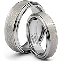 Tungsten Carbide His (8mm) and Hers (6mm) Celtic Knot Engraved Wedding Ring Band Set;