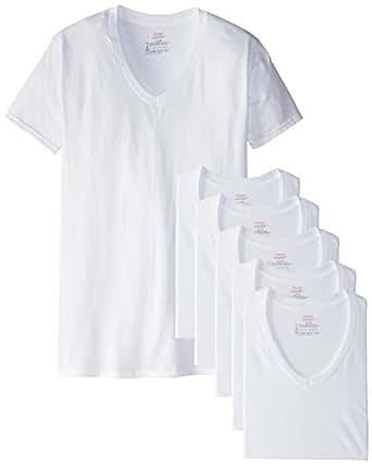 Hanes men 39 s freshiq v neck t shirts pack of 6 for Hanes premium men s 6pk v neck t shirt white