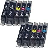 10 CANON COMPATIBLE INK CARTRIDGES (2 SETS) WITH CHIP COMPATIBLE TO CANON CLI-8 & PGI-5BK (2x PHOTOBLACK + 2x BLACK + 2x CYAN + 2x MAGENTA + 2x YELLOW) FOR CANON PIXMA MP500 / MP510 / MP520 / MP530 / MP600 / MP600R / MP610 / MP800 / MP800R / MP810 / MP83