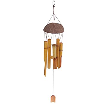 Bamboo Stalk Wind Chime - Light Brown Melodic Chime for Garden, Patio, Home - 28 Inches