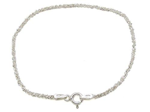Amberta® Gioielli - Bracciale - Catenina Argento Sterling 925 - Modello Pop corn - Larghezza 2 mm - Lunghezza: 18 19 cm (19cm)