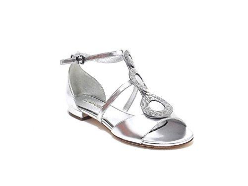 Luciano Barachini scarpa donna, modello sandalo gioiello 6203, in pelle laminata, colore argento