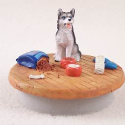 Husky Black & White w/Blue Eyes Candle Topper Tiny One A Day at Home (Set of 6)