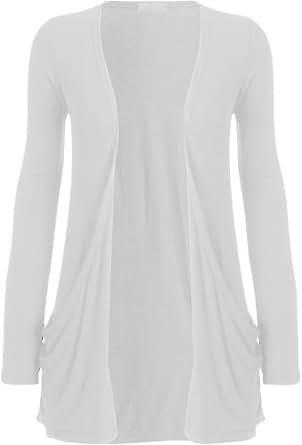 "WearAll - ""pocket"" cardigan à manches longues - Hauts - Femme - Blanc - 36-38"