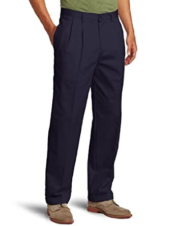 IZOD Men's American Chino Pleated Pant, Navy, 29x30