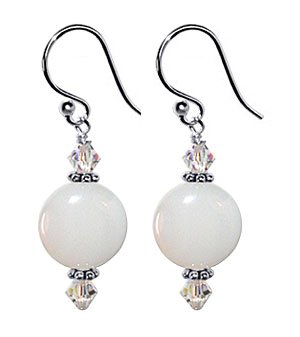 SCER087 Sterling Silver 10mm White Agate and Crystal Hook Earrings Made with Swarovski Elements