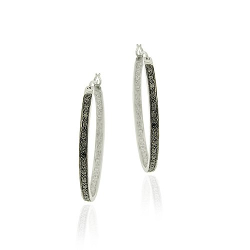 Sterling Silver Black Diamond Accent 22mm Oval Hoop Earrings