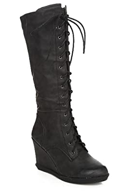 Qupid Black Burnish Lace-Up Wedge Boots Size : 6.5
