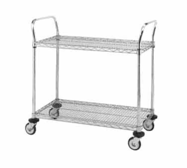Metro MW Series Stainless Steel Wire Utility Cart, 2 Shelves, 375 lbs Capacity, 30