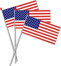 "USA Stars & Stripes Flags on Poles (11"" x 8"", plastic) - Pack of 10"