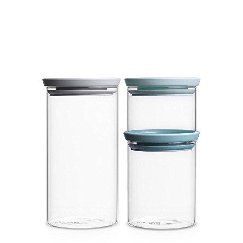 Brabantia Set Of 3 Stackable Glass Jars (.3L / 0.6L / 1.1L)