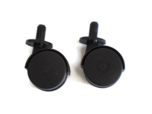 2 x 40mm Black twin wheel ferrule fitting furniture castors by swish