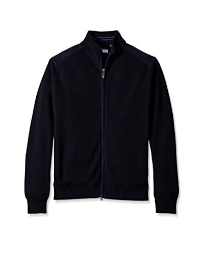 Alex Cannon Men's Full Zip Ribbed Cardigan With Faux Suede Shoulder Accents