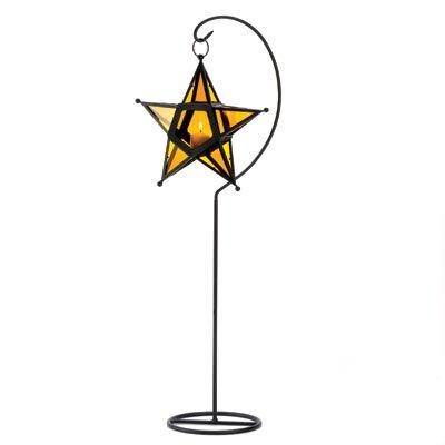 B008YQ5ALG Gifts & Decor Amber Glass Star Lantern Candleholder Centerpiece Stand