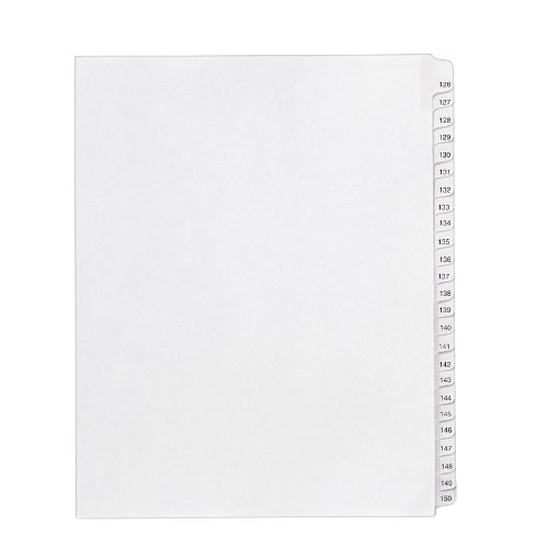 allstate-style-legal-side-tab-dividers-25-tab-126-150-letter-white-25-set-sold-as-1-set