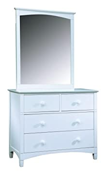 Bolton Furniture Essex 4-Drawer Dresser and Mirror Set, White