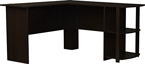Office L-Shaped Desk With 2 Shelves Is Compact And Affordable Easy To Assemble In Dark Cherry Finish By Ameriwood (9354303Pcom)