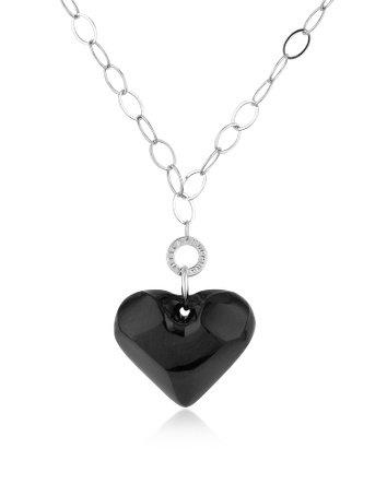 Antica Murrina Hope - Murano Glass Heart Pendant Necklace Black