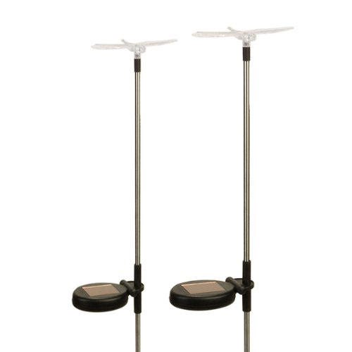 (2 Pack) Solar Powered Color Changing Outdoor Garden Pathway Stake Led Dragonfly Light