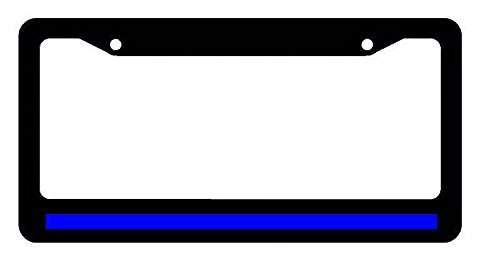 Reflective Thin Blue Line Police Lives Matter Black License Plate Frame (License Plate Police Frame compare prices)