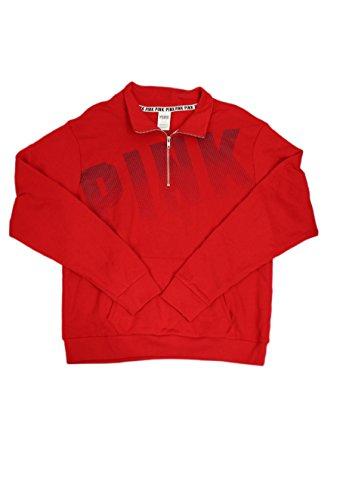 Victoria's Secret PINK Red/Deep Plum Half Zip-Up Sweater (Large)