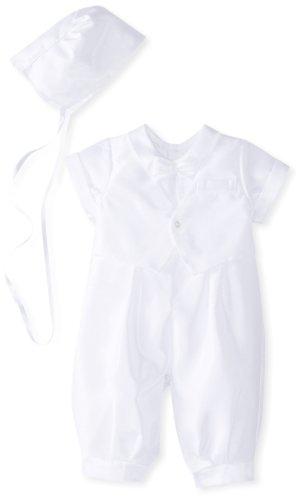 Jayne Copeland Baby-Boys Newborn Christening Shantung Vest Bow Tie, White, 6 Months