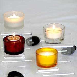 Amber Glass Round Tealight Candle Holders (1 Dozen)