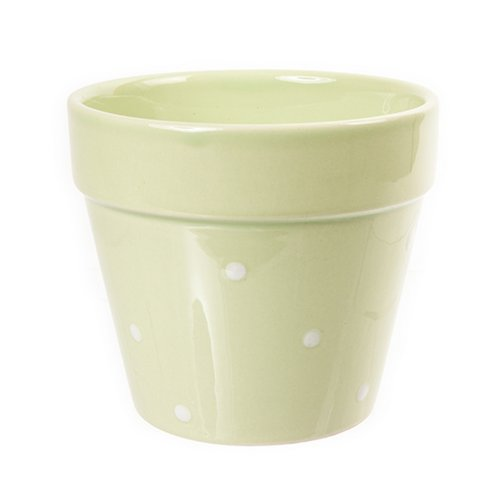 West5Products Pastel Green Coloured w/ Polka Dot Design Ceramic Plant Pots H9cm