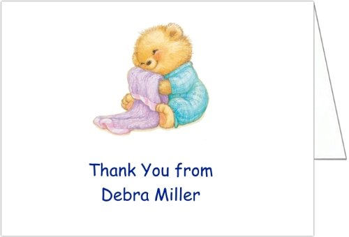 Soft & Cuddly Blue Baby Shower Thank You Cards - Set Of 20 front-1039344